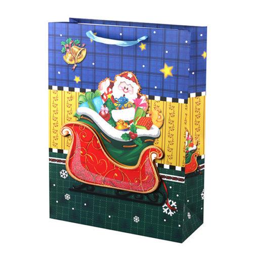 Пакет подарочный 31 х 42 х 12 Дед Мороз с подарками с глиттером Объемный