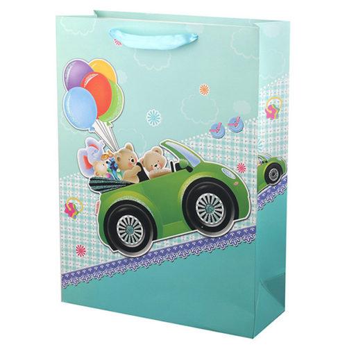 Пакет подарочный 31 х 42 х 12 Медвежата на автомобиле с глиттером