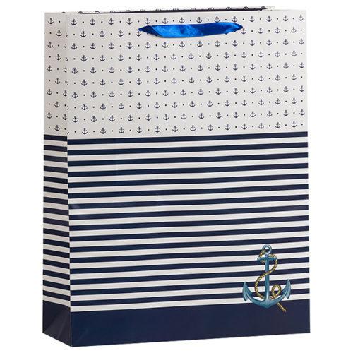 Пакет подарочный 31 х 42 х 12 Морской с якорем Синий