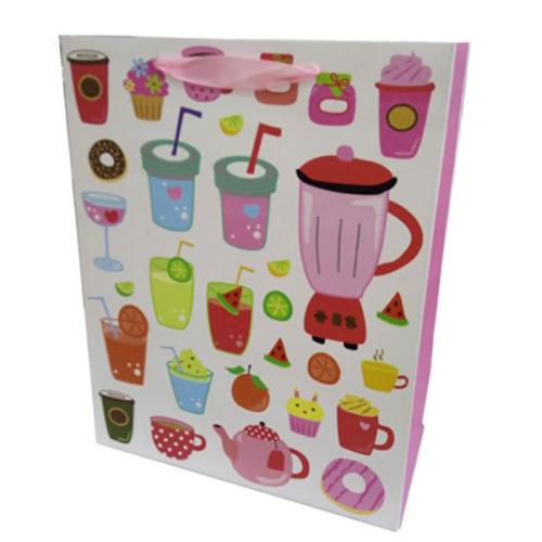 Пакет подарочный 31 х 42 х 12 Напитки Розовый