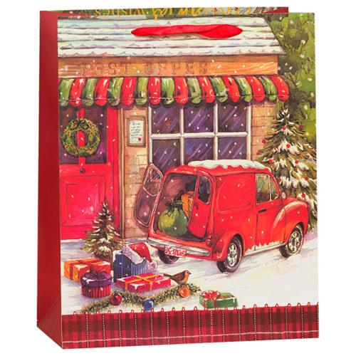 Пакет подарочный 31 х 42 х 12 Новогодний машина с подарками