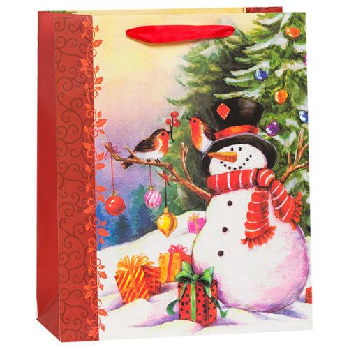 Пакет подарочный 31 х 42 х 12 Новогодний снеговик