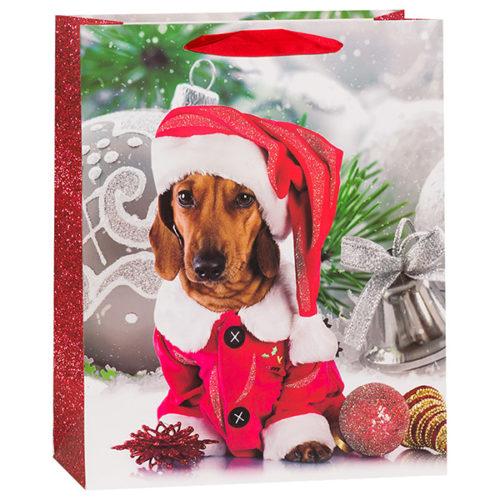 Пакет подарочный 31 х 42 х 12 Новогодний собачка в колпачке