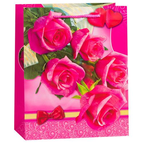 Пакет подарочный 33 х 46 х 12 Розы бантик