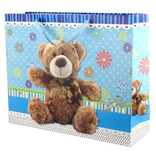 Пакет подарочный 50 х 40 х 15 Плюшевый мишка с цветами Синий