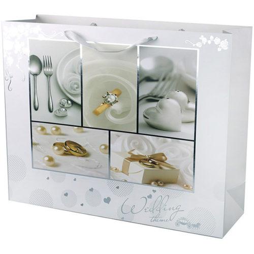 Пакет подарочный 50 х 40 х 15 Свадебный подарок с серебряным тиснением