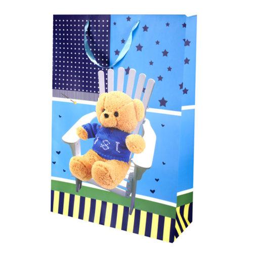 Пакет подарочный 50 х 70 х 18 Плюшевый мишка Синий