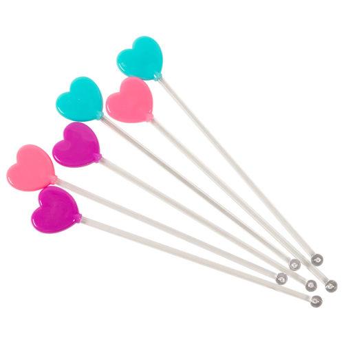 Палочки для коктейлей Сердца 6 шт