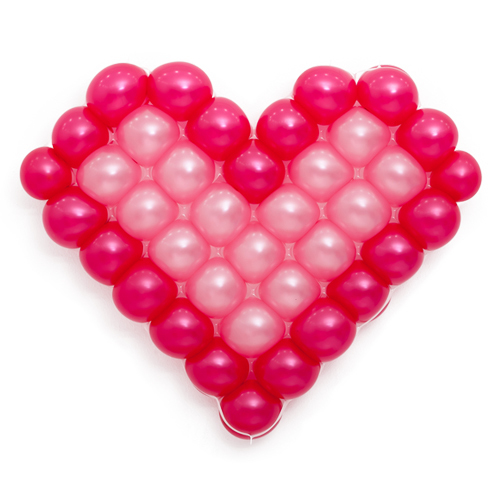 Панно из шаров сердце розовое 2 цвета