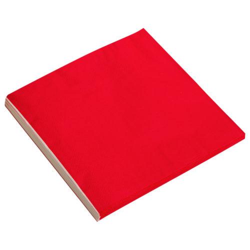 Салфетки 33см X 33см Однотонные Красный 20 штук
