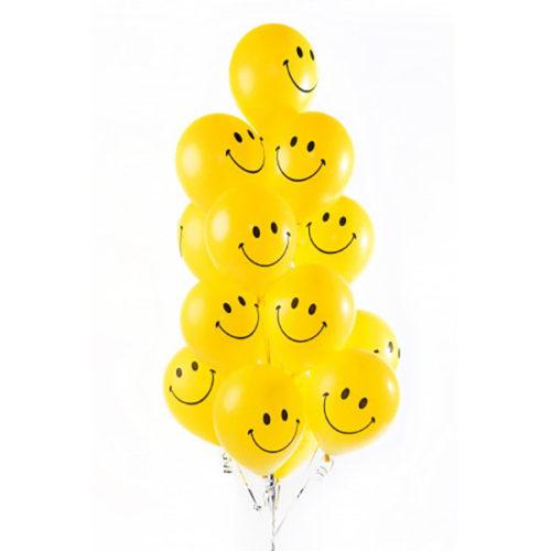 Связка из 17 желтых воздушных шаров смайликов
