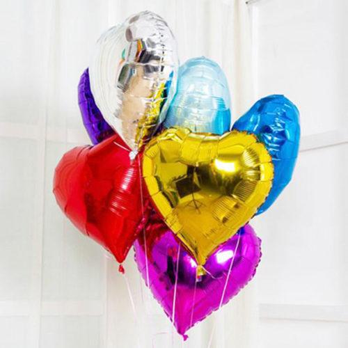 Связка из 7 воздушных шаров Разноцветых сердец из фольги