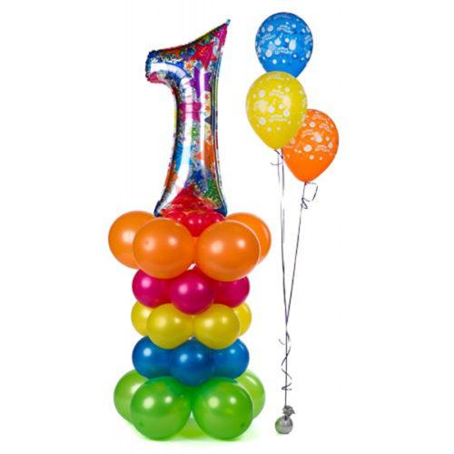 Стойка с цифрой 1 Дизайнерская из воздушных шаров