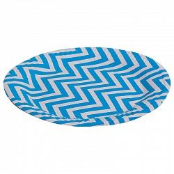 Тарелки бумажные 17 см Голубые зигзаги 6 штук