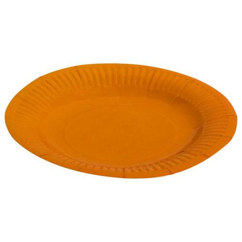 Тарелки бумажные 17 см Однотонные Оранжевый 6 штук