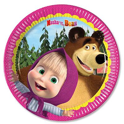 Тарелки бумажные 20 см Маша и Медведь 8 штук