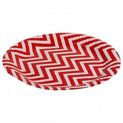 Тарелки бумажные 23 см Красные зигзаги 6 штук