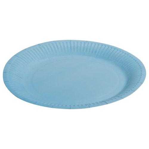 Тарелки бумажные 23 см Однотонные Голубой 6 штук