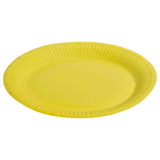 Тарелки бумажные 23 см Однотонные Желтый 6 штук