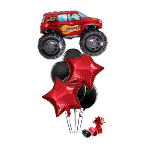 Фонтан с красным джипом из воздушных шаров