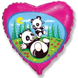 Шар 46 см Сердце Забавная панда Фуше