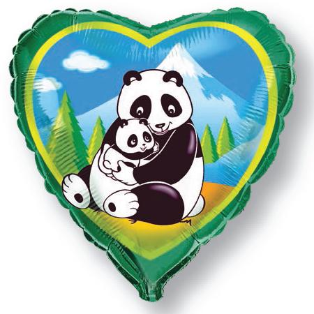 Шар 46 см Сердце Панды Зеленый