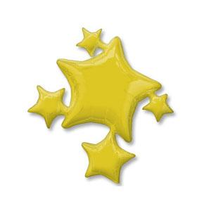 Шар 64 см Фигура Звезды золотые