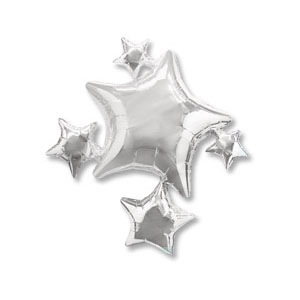 Шар 64 см Фигура Звезды серебрянные