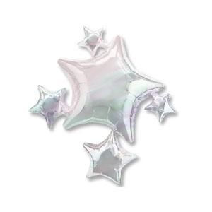 Шар 64 см Фигура Звезды титановые