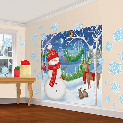 Декорация Снеговик большой снежинки 165 х 82