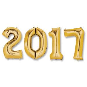 Надпись из шаров 2017 с воздухом Золото