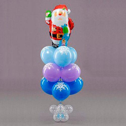 Связка из шаров Новогодняя с Сантой