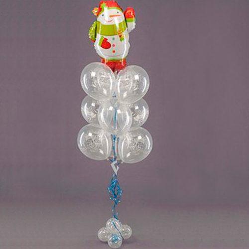 Связка из шаров Новогодняя со Снеговиком