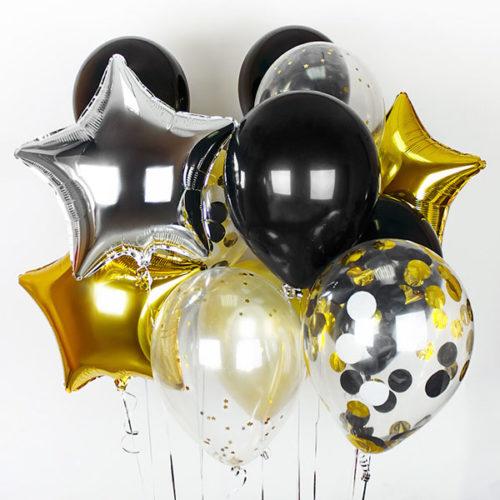 Связка с черными серебрянными и золотыми шарами