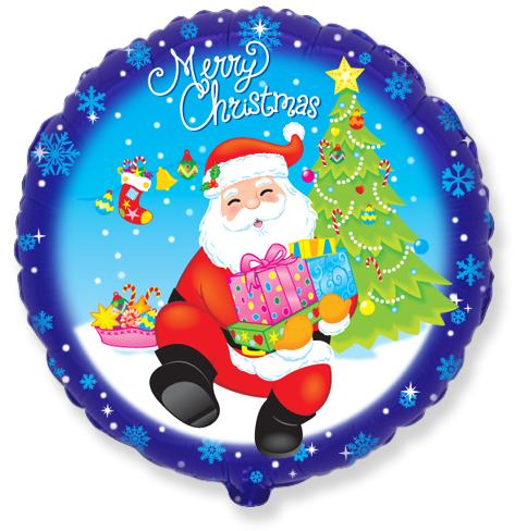 Шар 46 см Круг Санта с подарками Синий