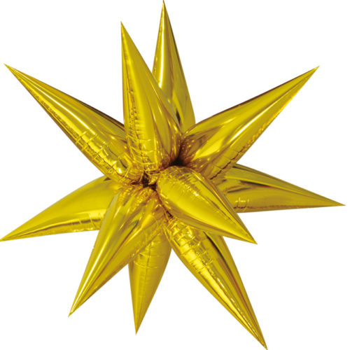 Шар 66 см Фигура Звезда составная Золото с воздухом