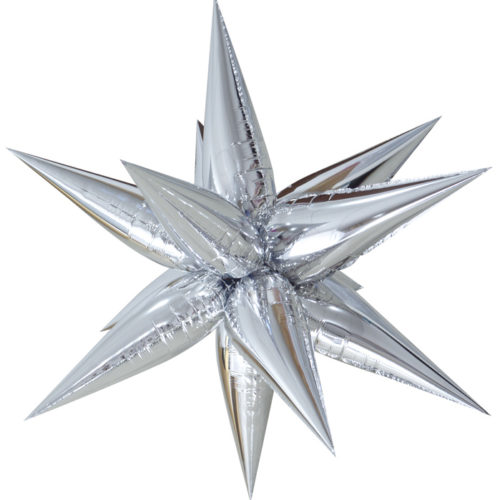 Шар 66 см Фигура Звезда составная Серебро с воздухом
