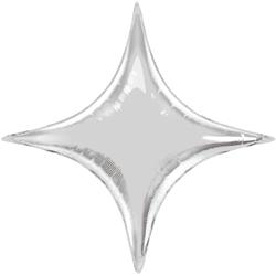 Шар 71 см Фигура Звезда 4х-конечная Серебро