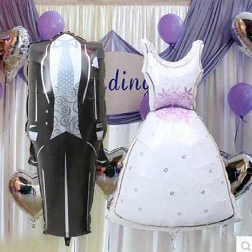 Комплект для фото Жених и невеста и 5 шаров сердец