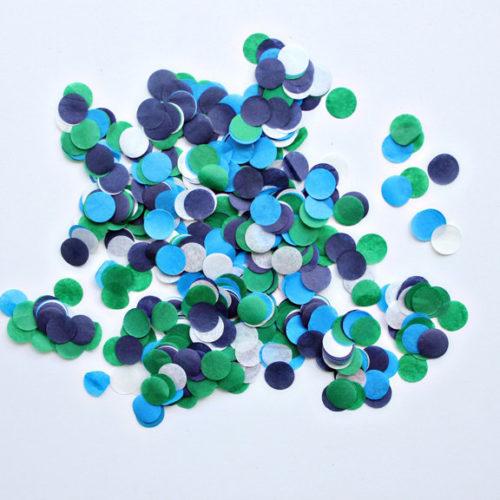 Конфетти Круги 4 см Голубой Зеленый Синий Белый