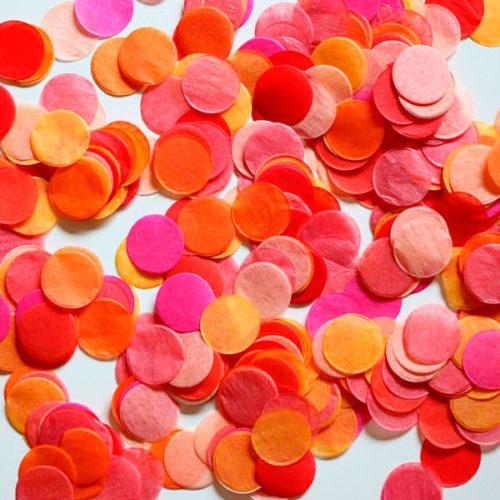 Конфетти Круги 4 см Оранжевый Розовый Красный