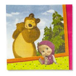 Салфетка 25 см Маша и Медведь 12 шт