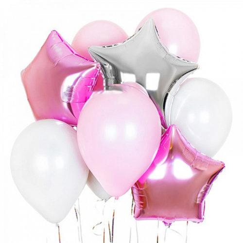 Связка из шаров на Розовый Нежный