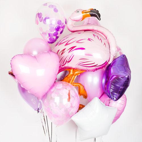 Связка из шаров с фламинго и сердцем