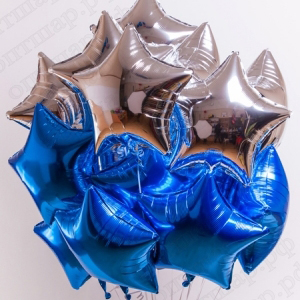 Связка из 18 шаров звезд синих и серебро