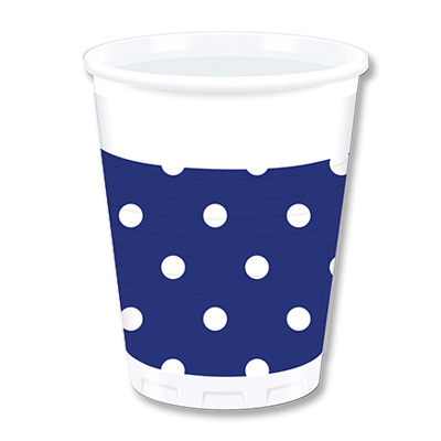 Стаканы пластик 20 мл Горошек синий 10 штук