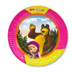 Тарелка бумажные 23 см Маша и Медведь 6 шт