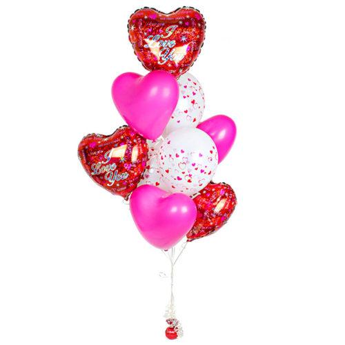 Фонтан из шаров Сердца Я тебя люблю