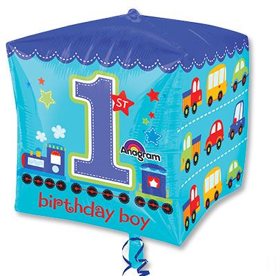 Шар 40 см 3D КУБ 1-й День Рожденья мальчик