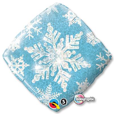 Шар 46 см Квадрат Ромб Снежинка голубая голография